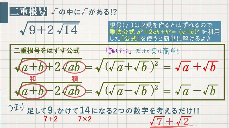 高校で追加される平方根の問題②二重根号