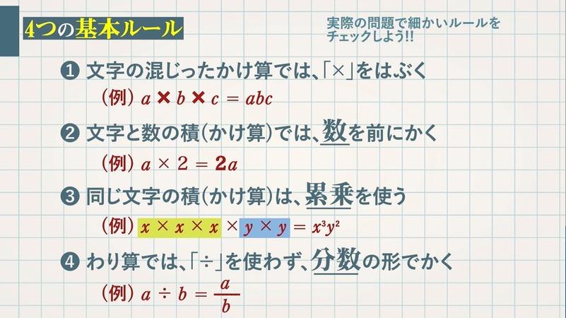文字を使った式の表し方