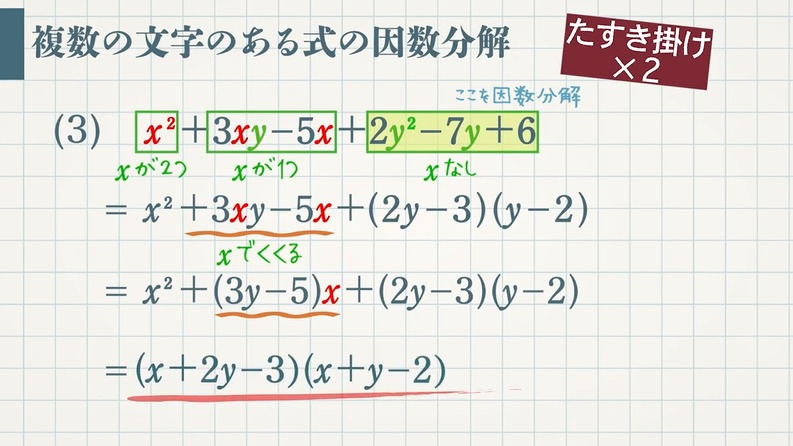 高校で習う 複数の文字のある式の因数分解