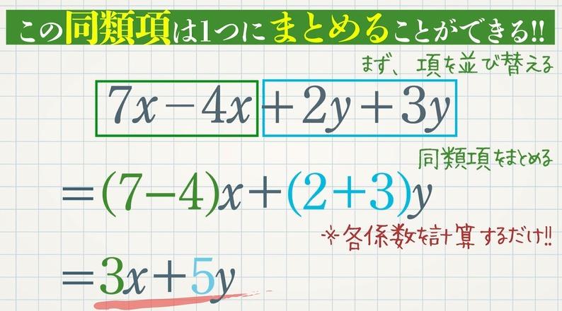 同類項と多項式の計算(基礎)