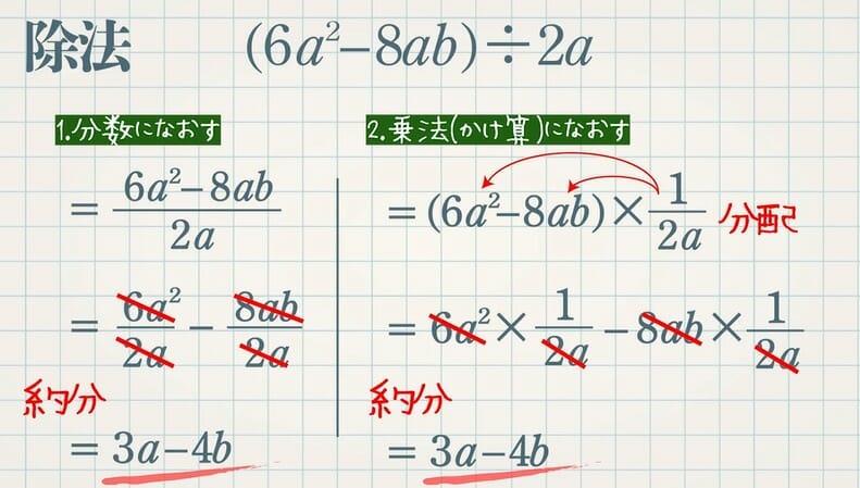 多項式と単項式の乗法・除法