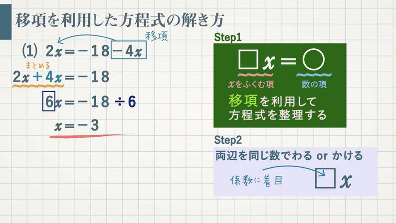 方程式の解き方 等式の性質と移項