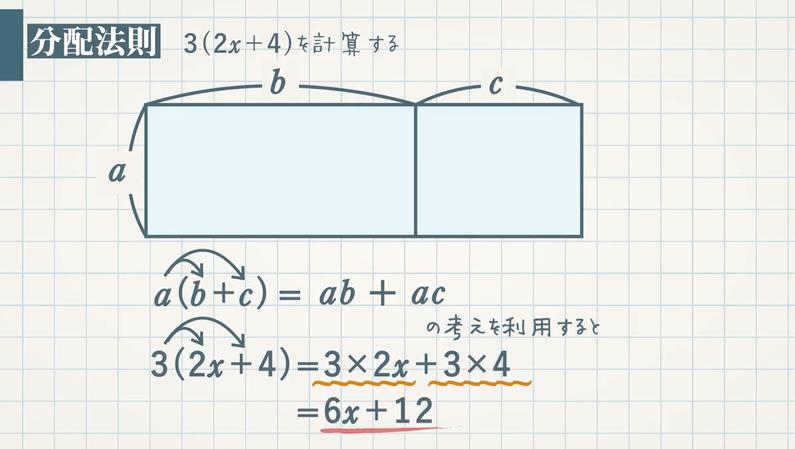 1次式の計算②1次式と数の乗・除と分配法則