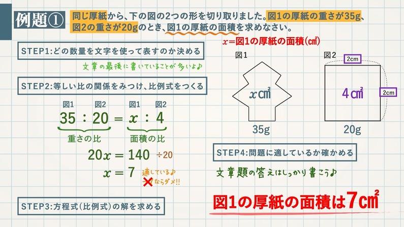 方程式の利用④比例式で解く-文章題の基本問題-