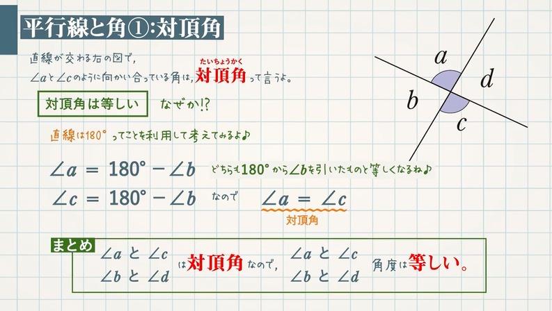 平行線と角 対頂角・錯角・同位角とは?