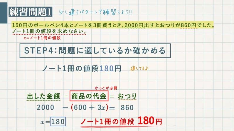方程式の利用①文章題の基本問題(代金)