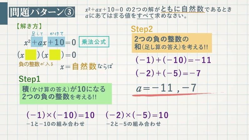 2次方程式の解(aの値と他の解)