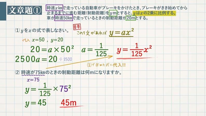 速さに関する問題(y=ax²) 平均の速さ(変化の割合)
