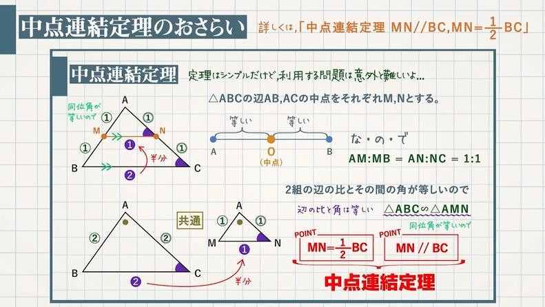 中点連結定理を使った平行四辺形であることの証明