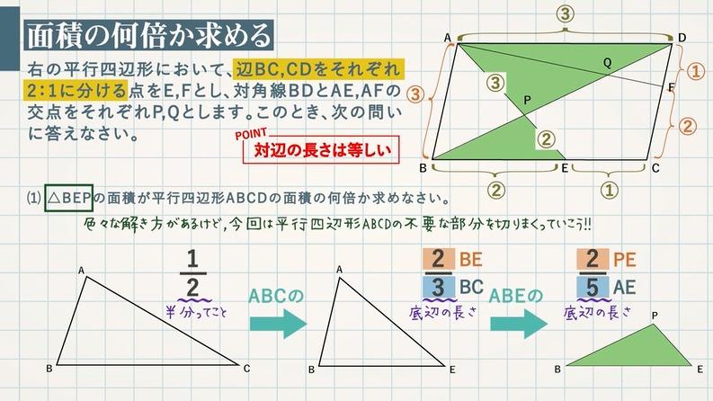 相似分野の応用問題①ラスボスっぽいの,多分それ連比です。-面積の比(何倍)を求める問題も含めてかんたんな方法を解説します-
